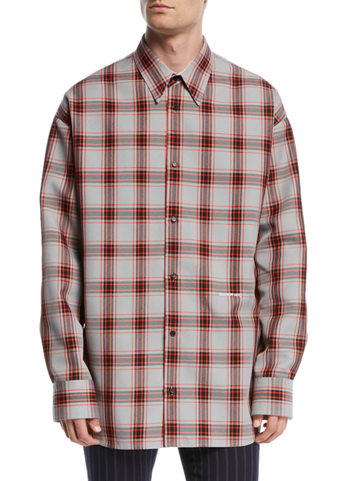 CALVIN KLEIN 205W39NYC Men's Tartan Check Sport Shirt