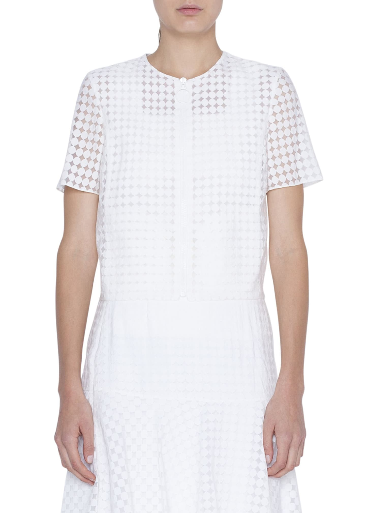 Akris punto Short-Sleeve Dotted Viscose-Blend Jacket