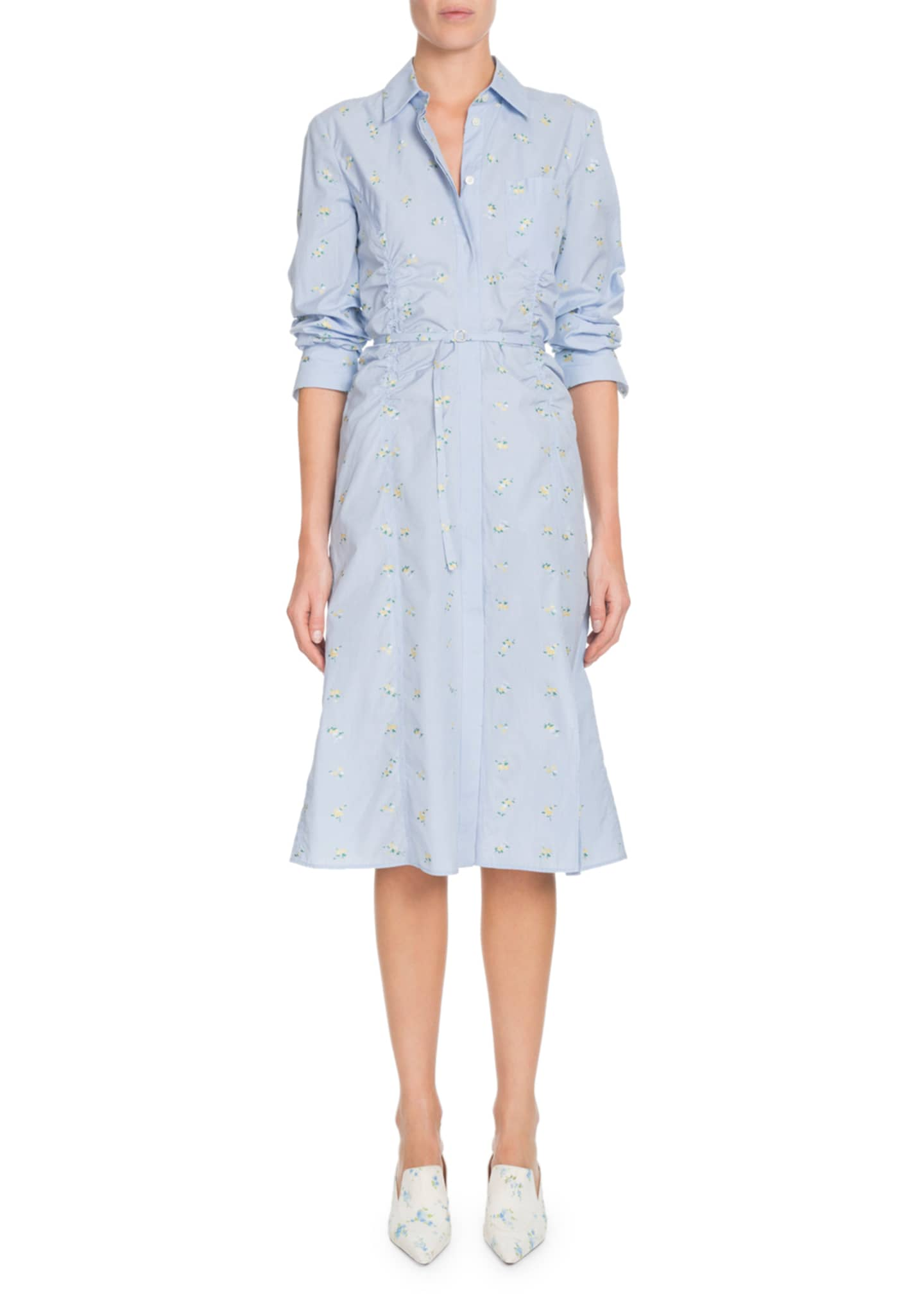 Altuzarra Button-Front Long-Sleeve Cotton Dress