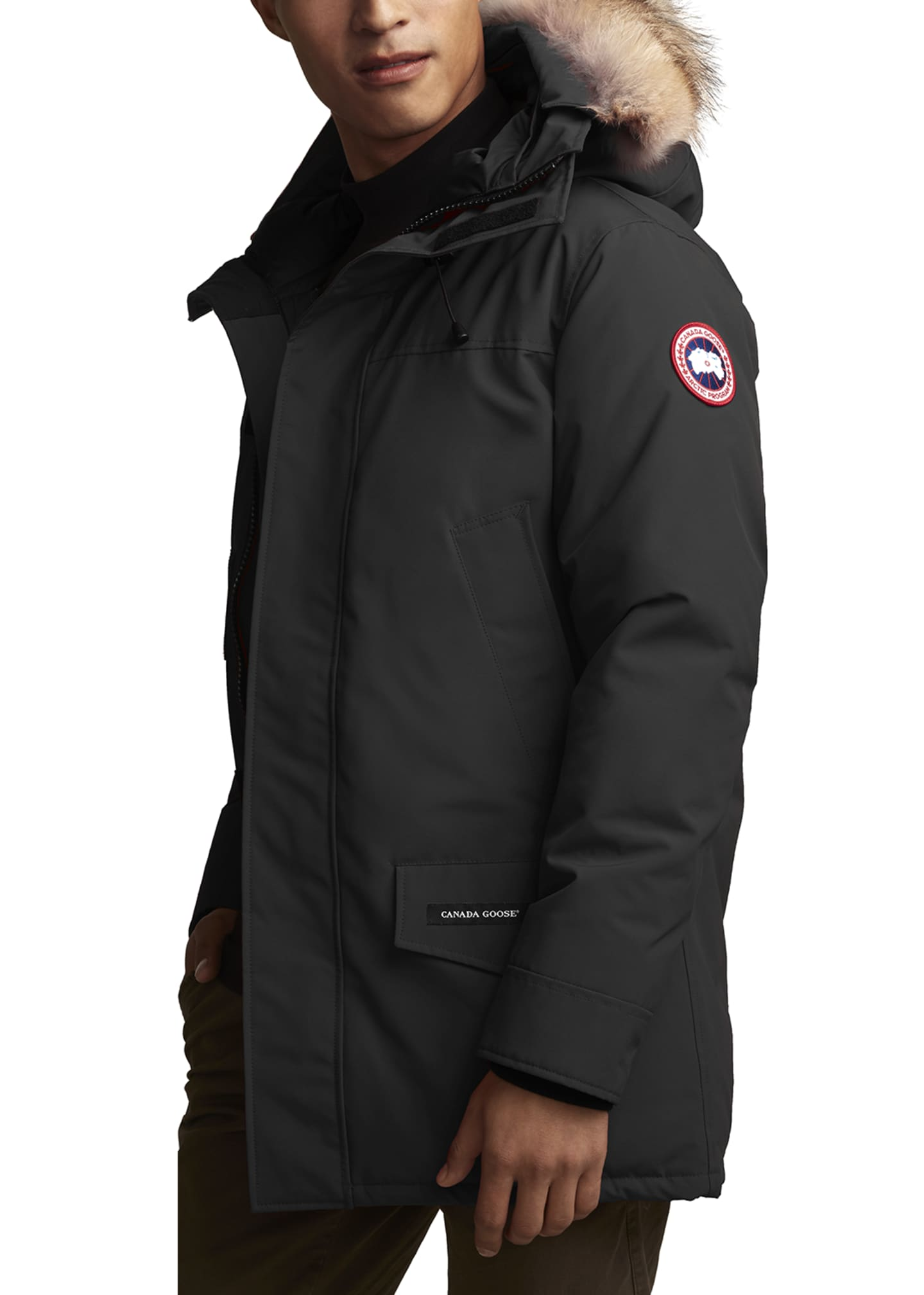 Image 2 of 4: Men's Langford Arctic-Tech Parka Jacket with Fur Hood - Fusion Fit