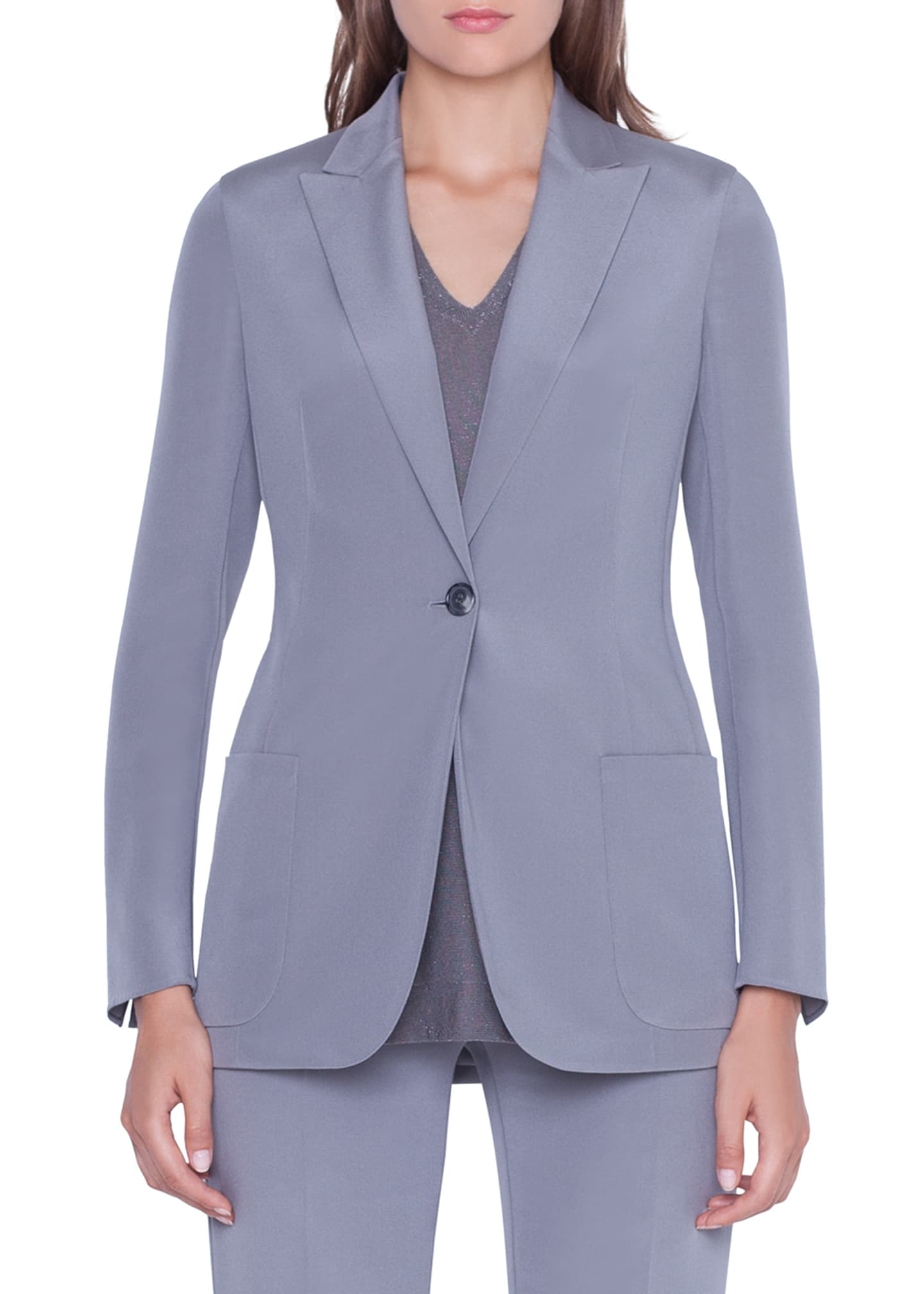 Image 1 of 2: Amandine One-Button Silk Jacket