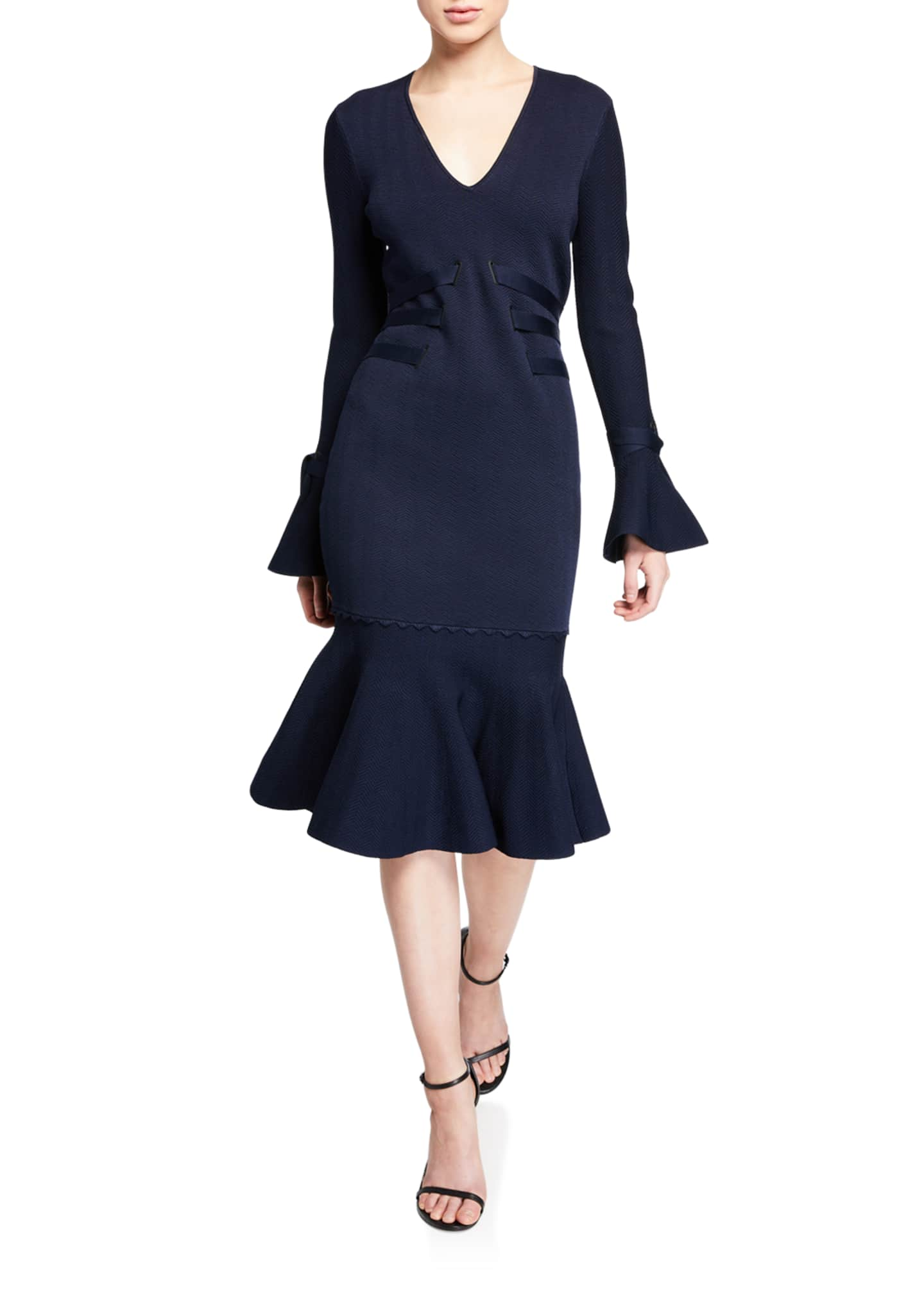 Image 1 of 2: Grommet Jacquard V-Neck Ruffle Cocktail Dress