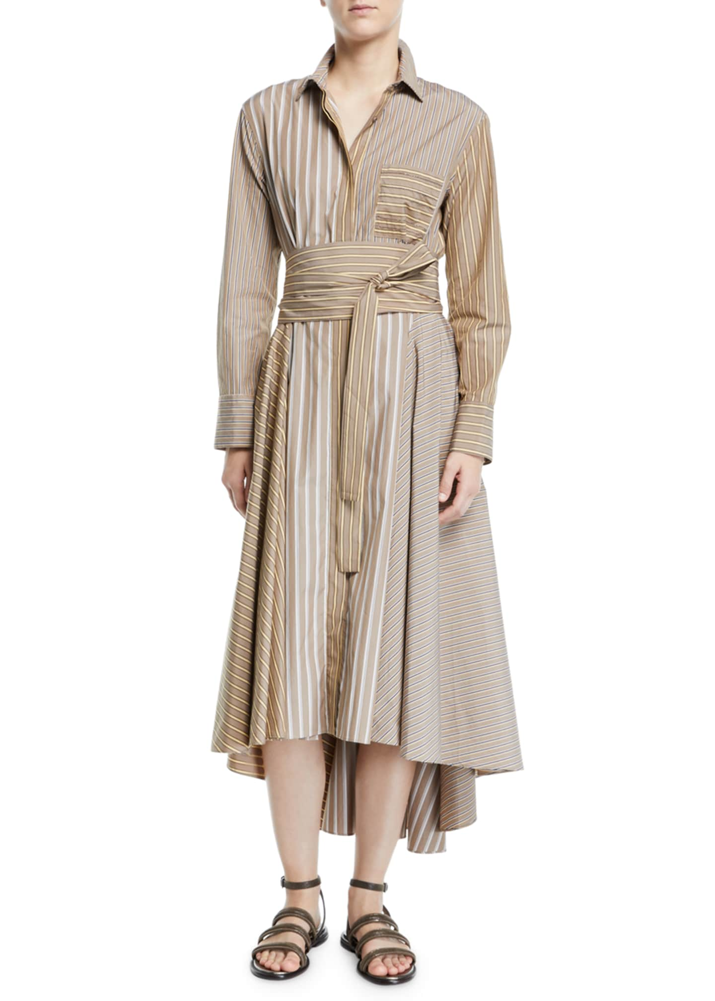 Brunello Cucinelli Belted Striped-Poplin Midi Shirtdress