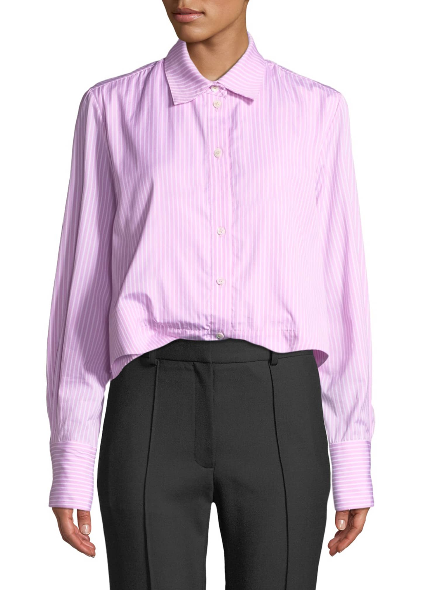 Rokh Striped Cropped Button-Front Pleated Peplum Shirt