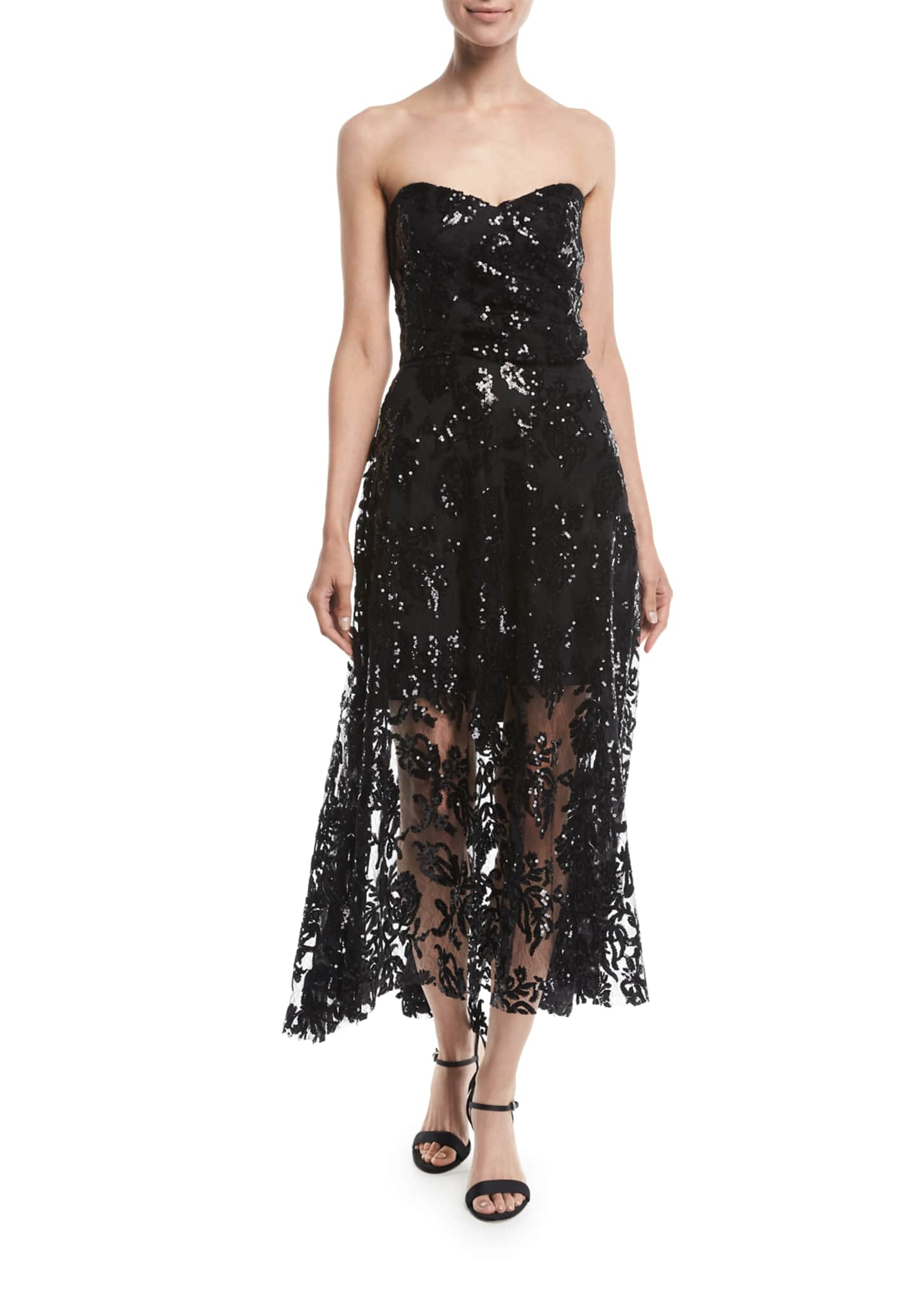 Milly Tori Lace Sequin Embroidered Dress