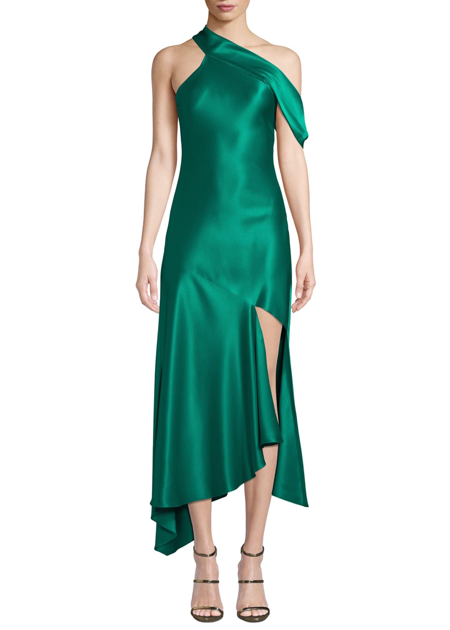 CUSHNIE One-Shoulder Satin Slip Dress
