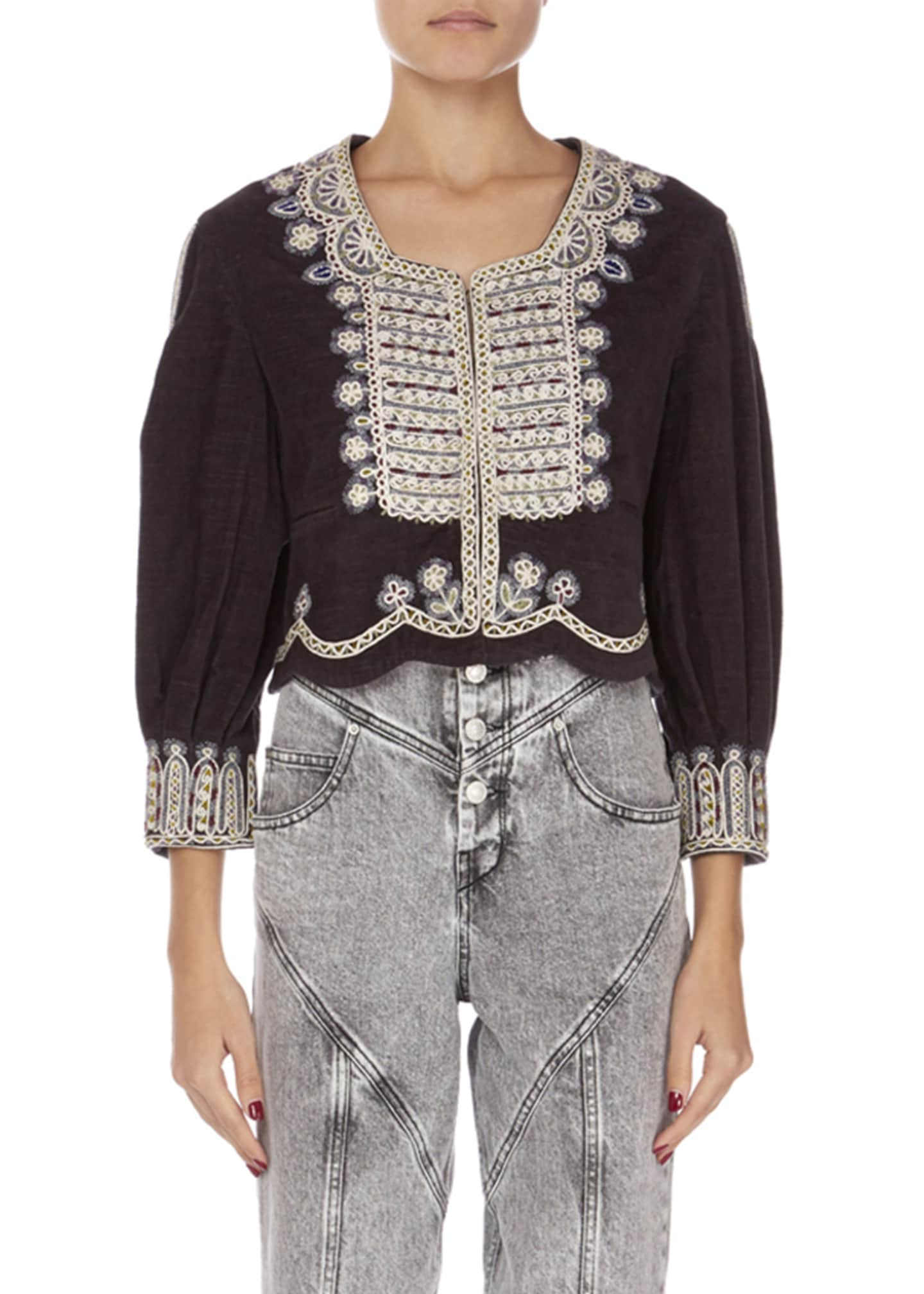 Isabel Marant Amity Embroidered Crop Jacket