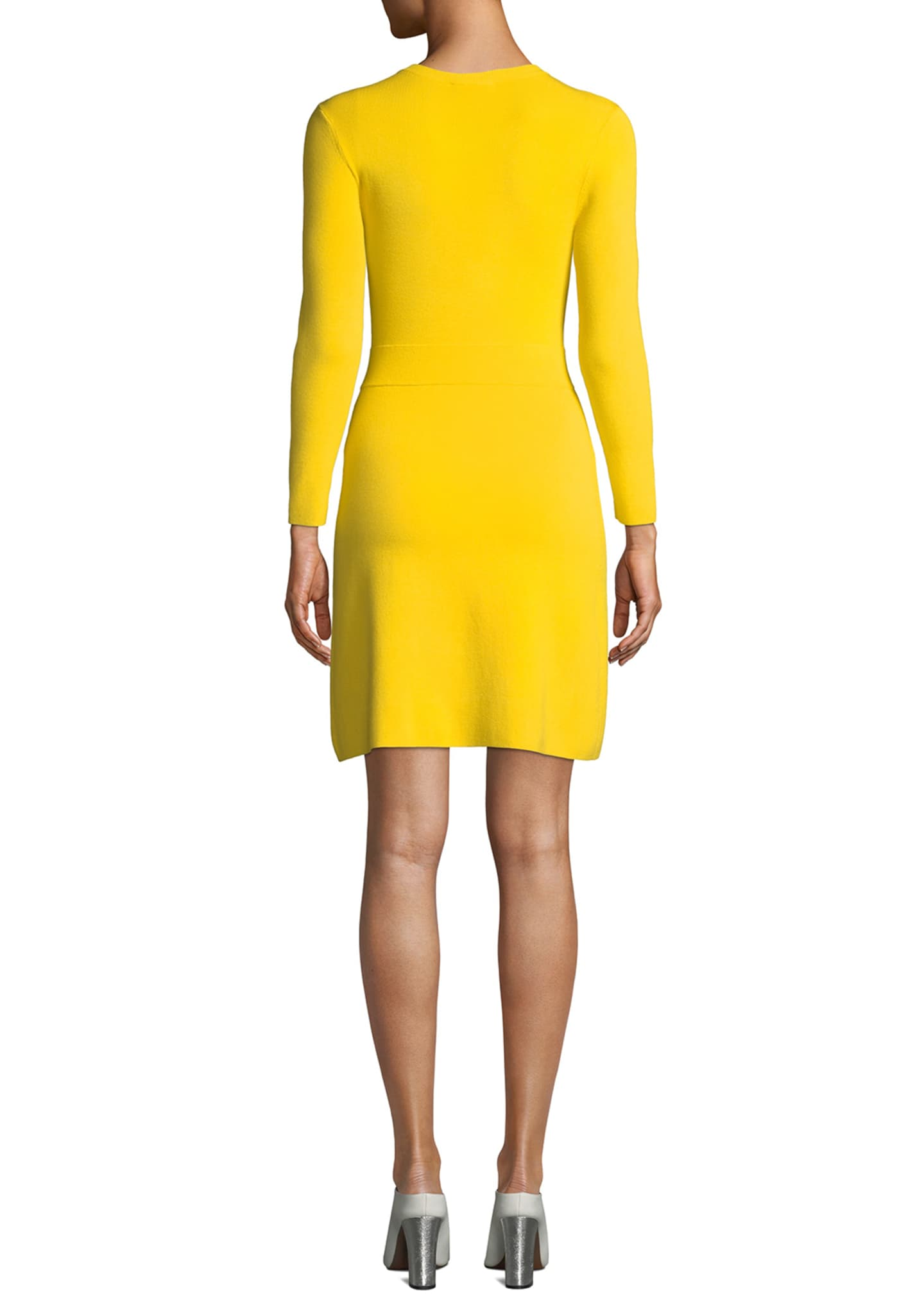 Image 2 of 2: Hadley Long-Sleeve Dress w/ Slit Skirt Overlay
