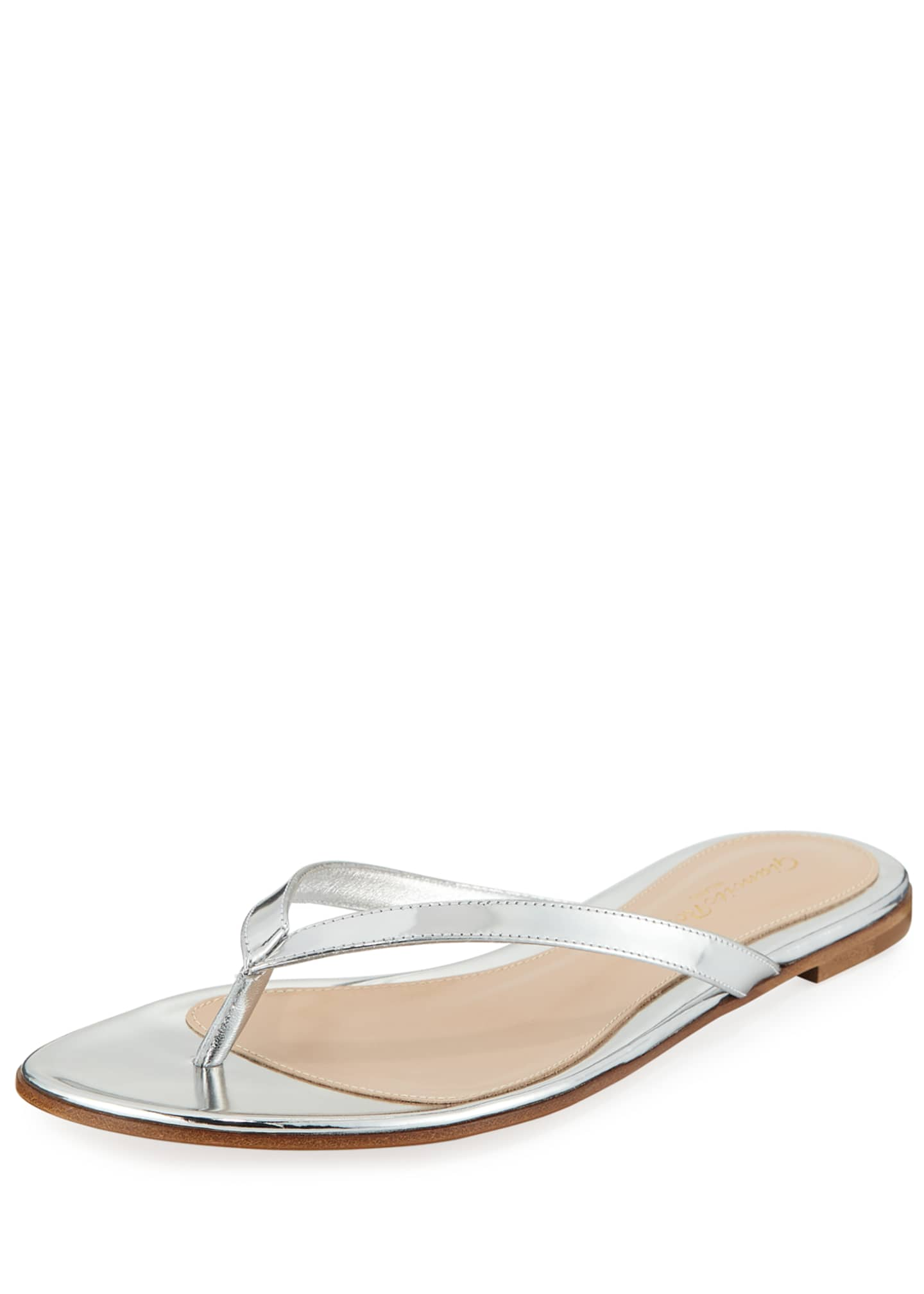 Gianvito Rossi Metallic Leather Thong Sandals with Crystal
