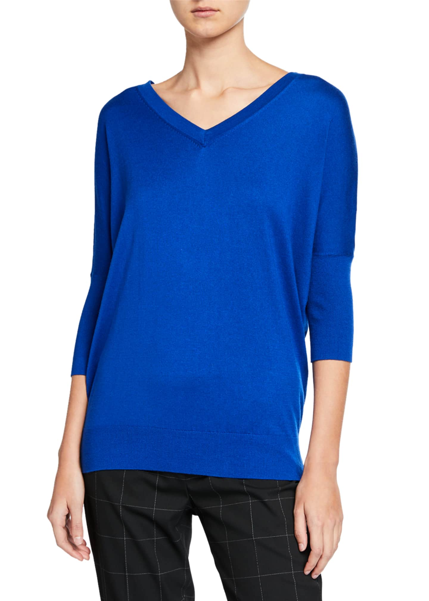 Image 1 of 2: Liola V-Neck 3/4-Sleeve Sweater