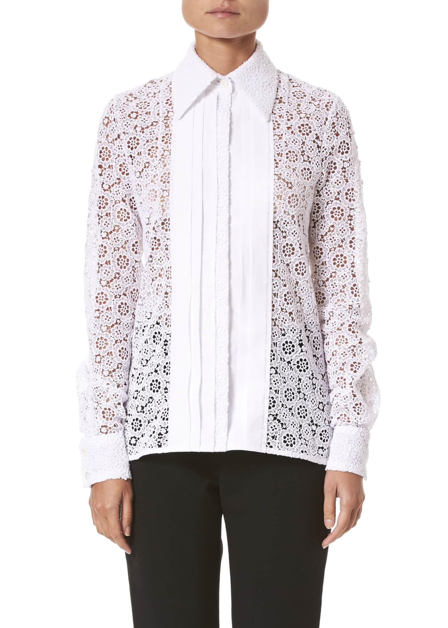 Carolina Herrera Long-Sleeve Eyelet Tuxedo Shirt