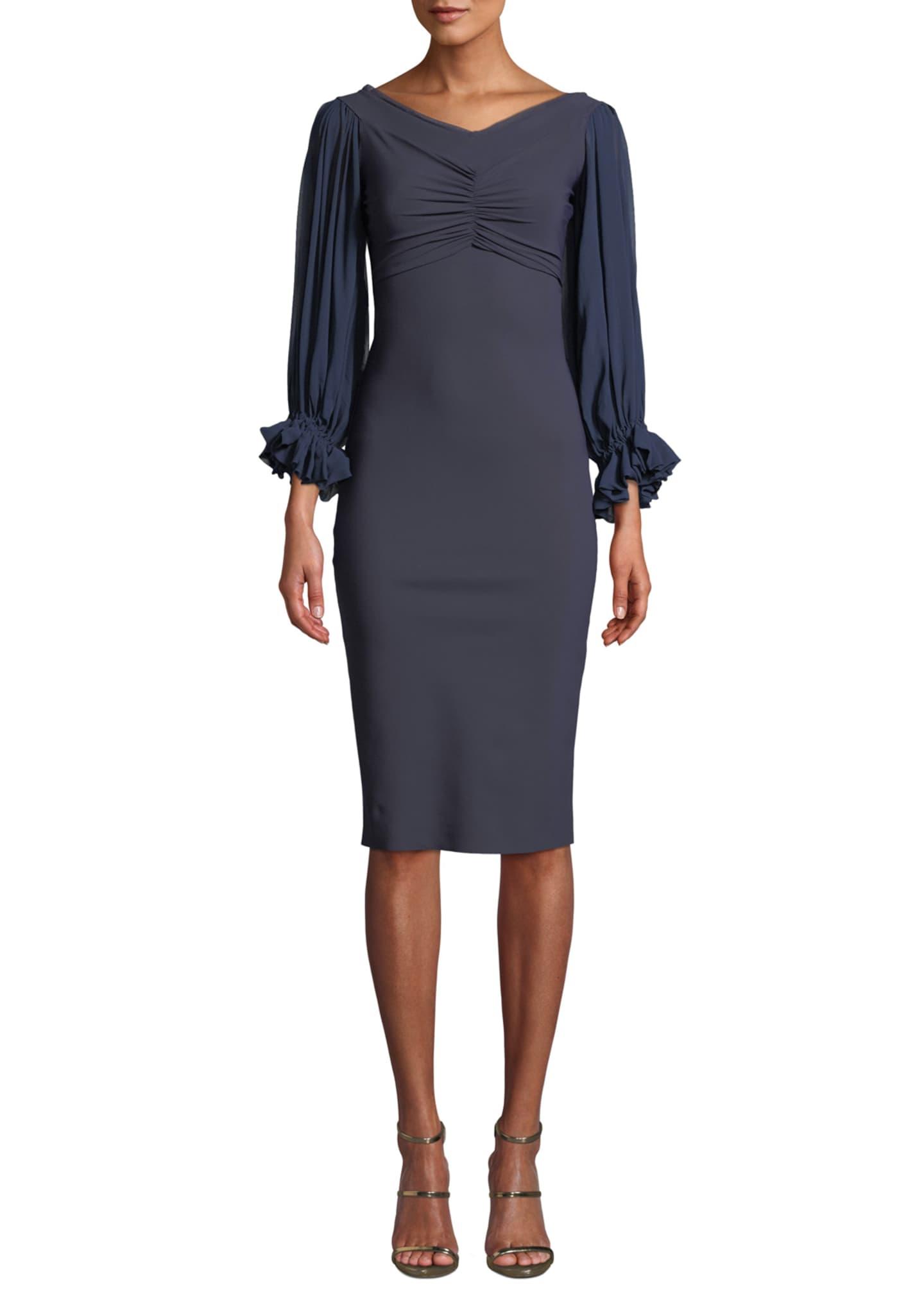 Chiara Boni La Petite Robe Maber V-Neck Blouson-Sleeve