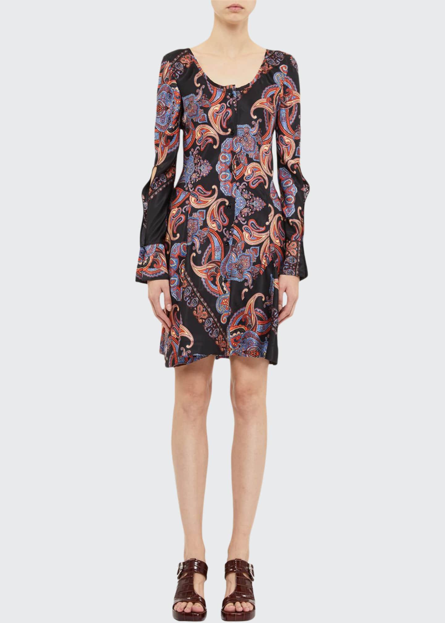 Chloe Bell-Sleeve Paisley Print Dress
