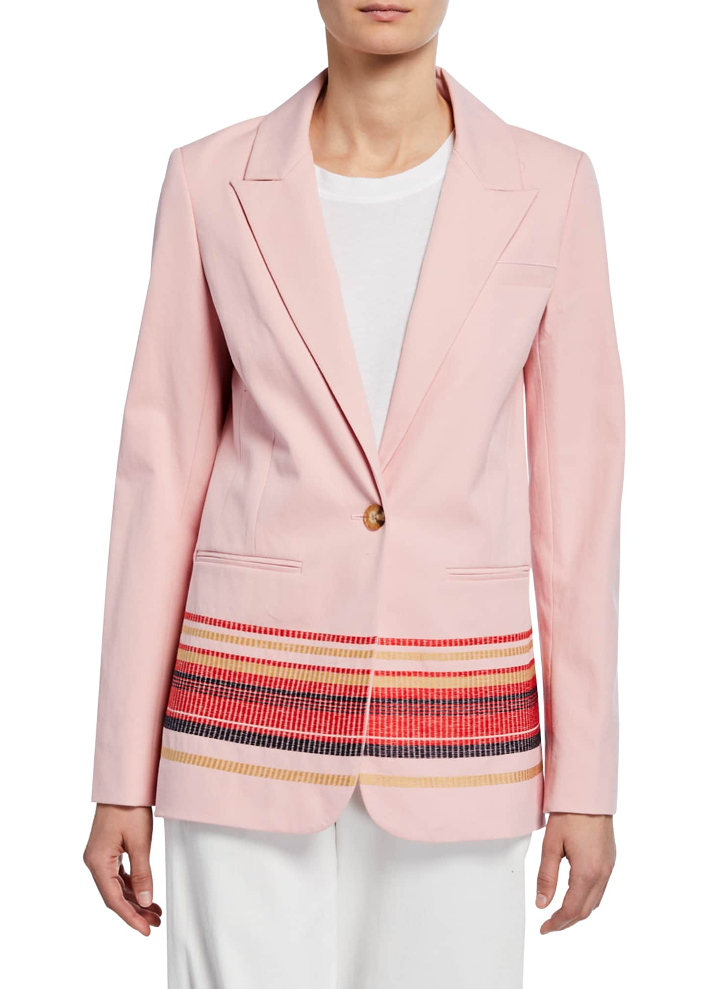 Image 1 of 3: Single-Button Blazer with Embroidery