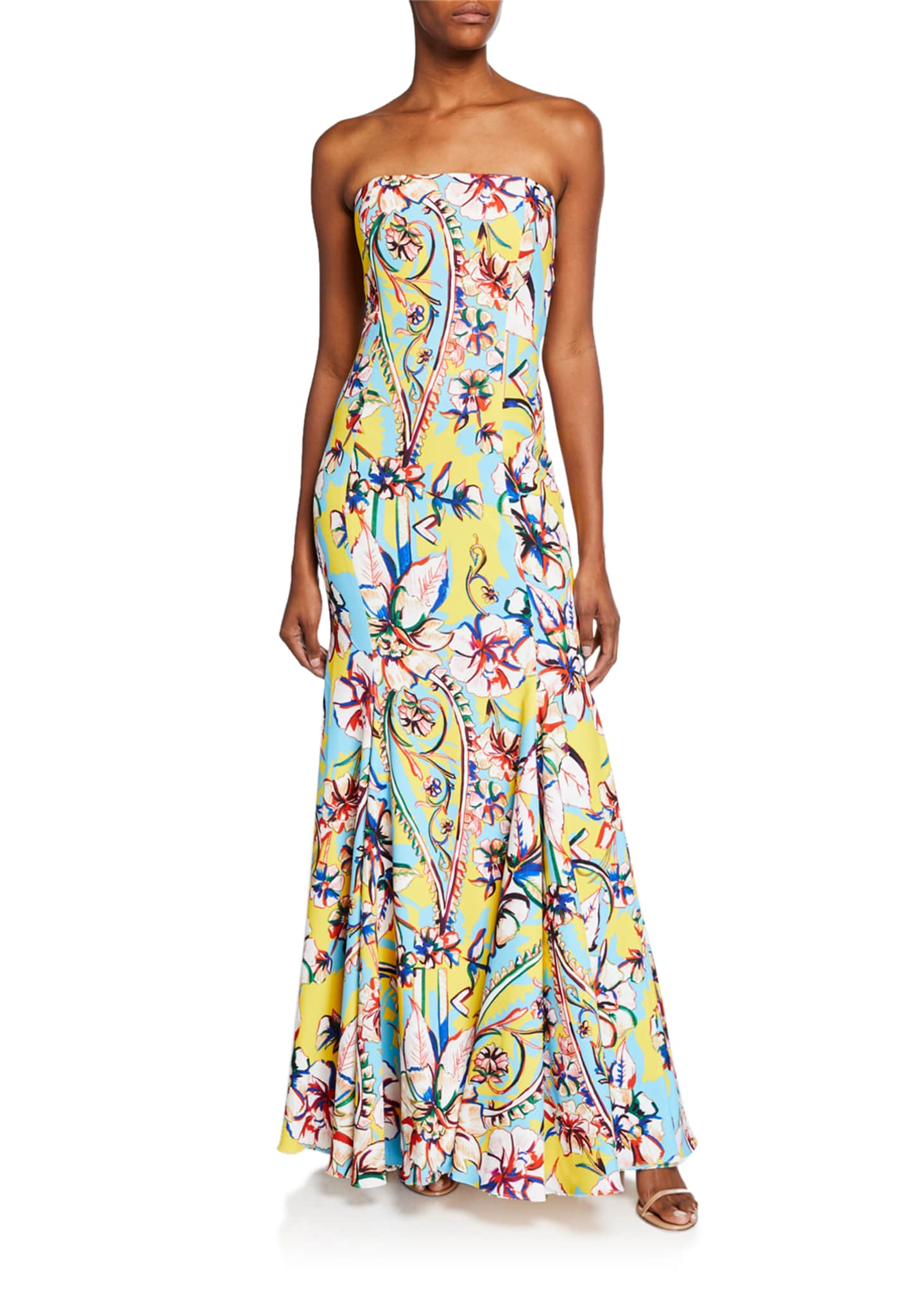 Badgley Mischka Collection Couture-Print Strapless Bow-Back Gown