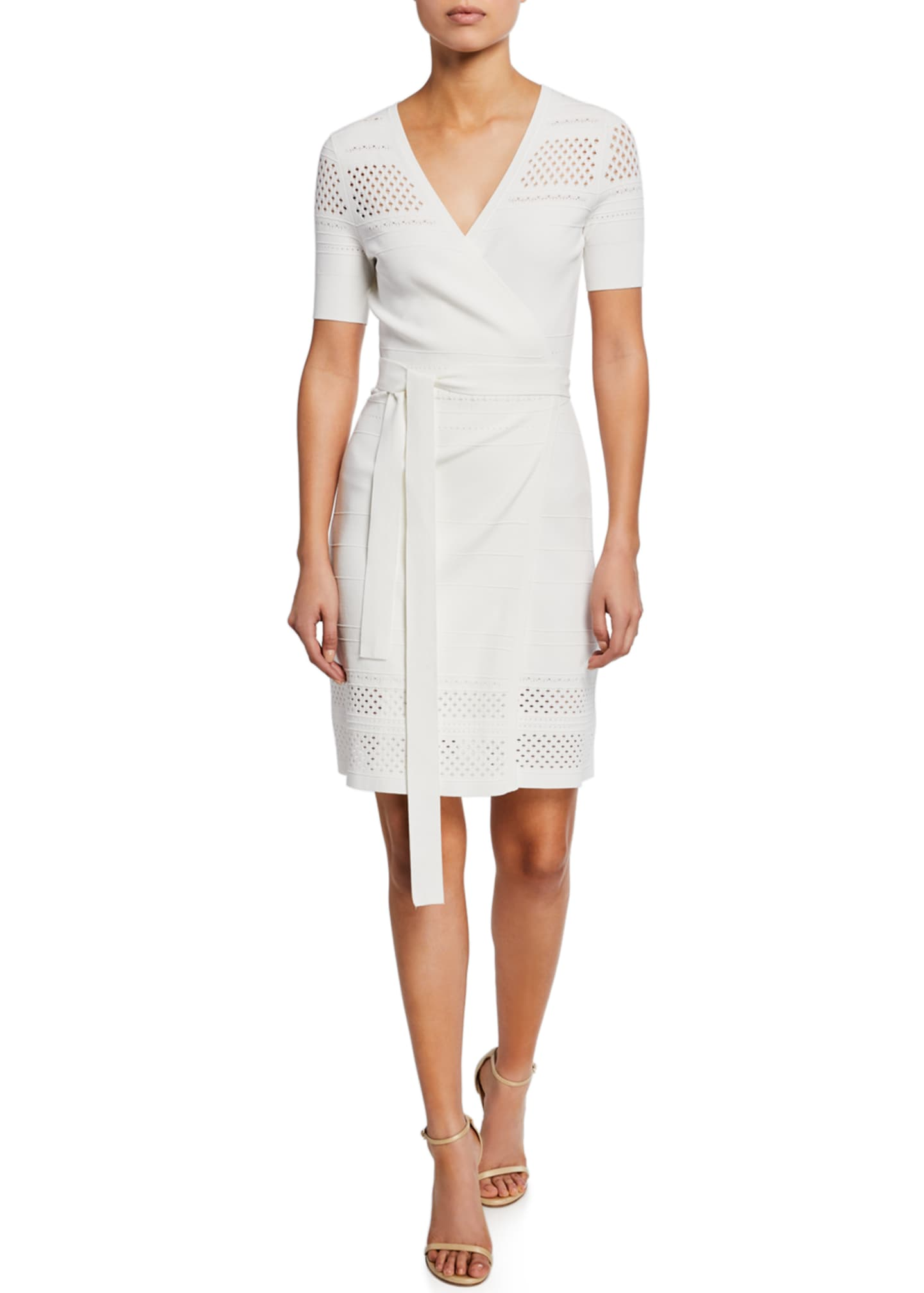 Image 1 of 2: Ivy Knit Short-Sleeve Wrap Dress