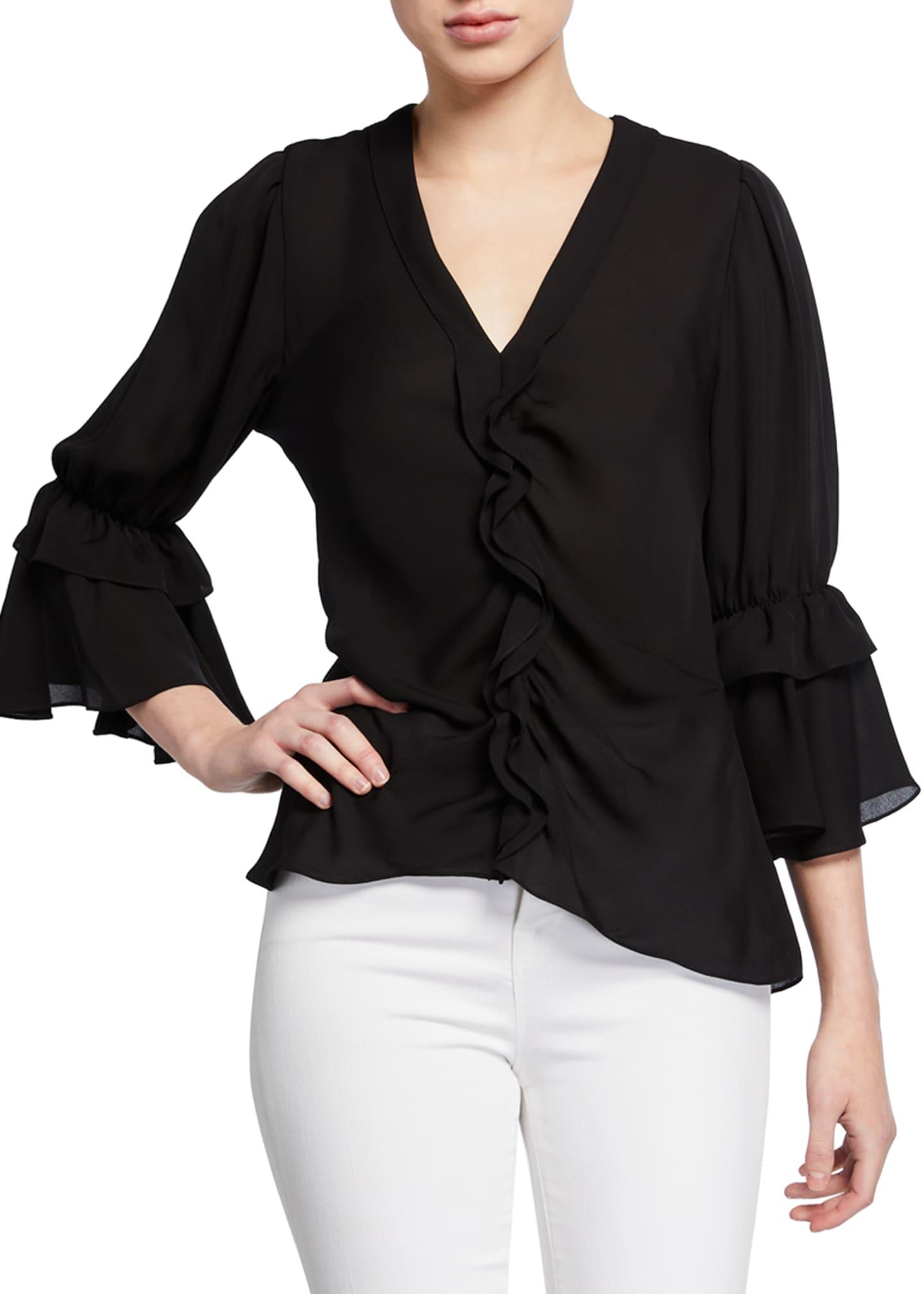 Kobi Halperin Demy V-Neck 3/4-Sleeve Silk Ruffle Blouse