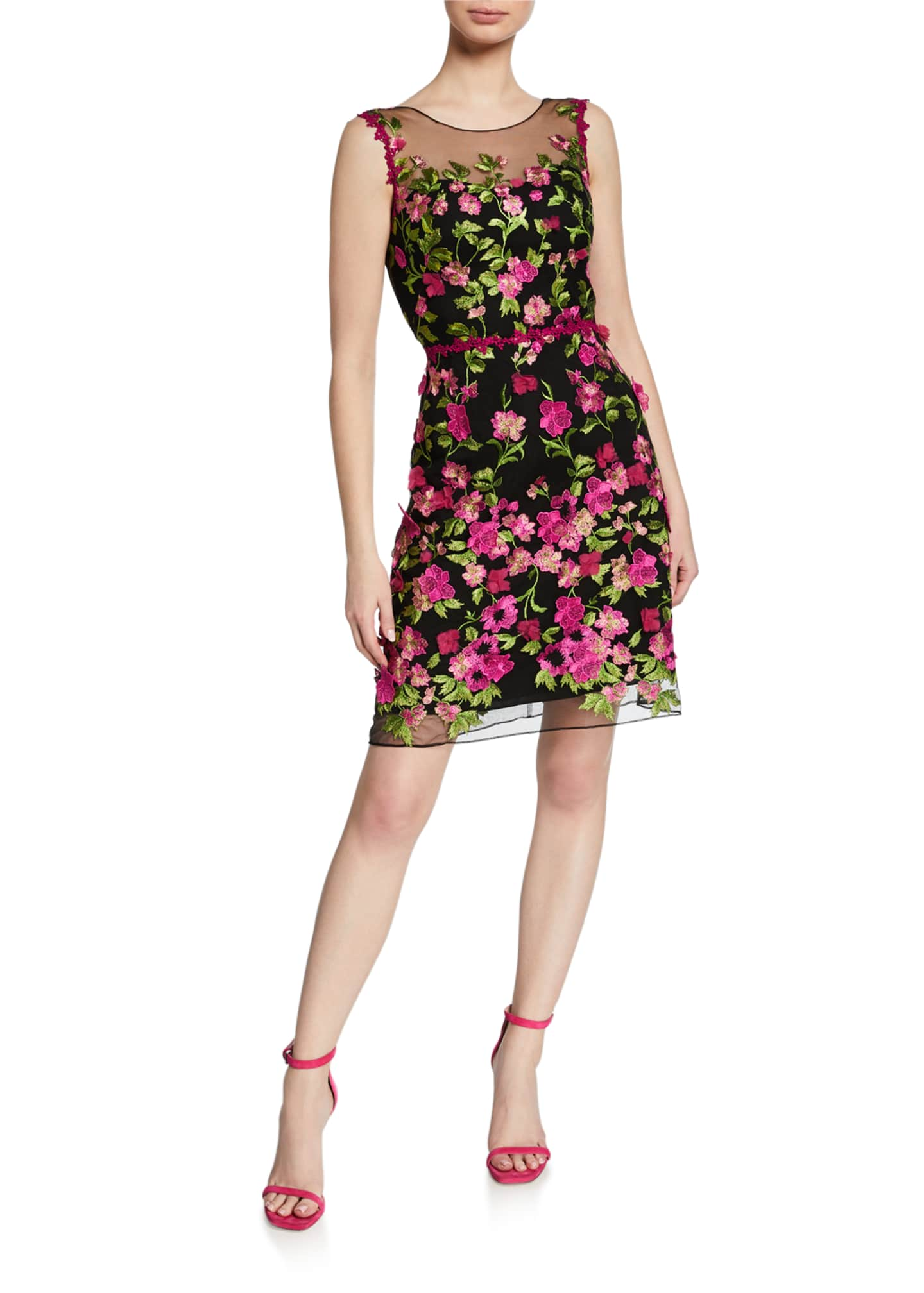 Marchesa Notte Embroidered Sleeveless Cutout Dress with 3D
