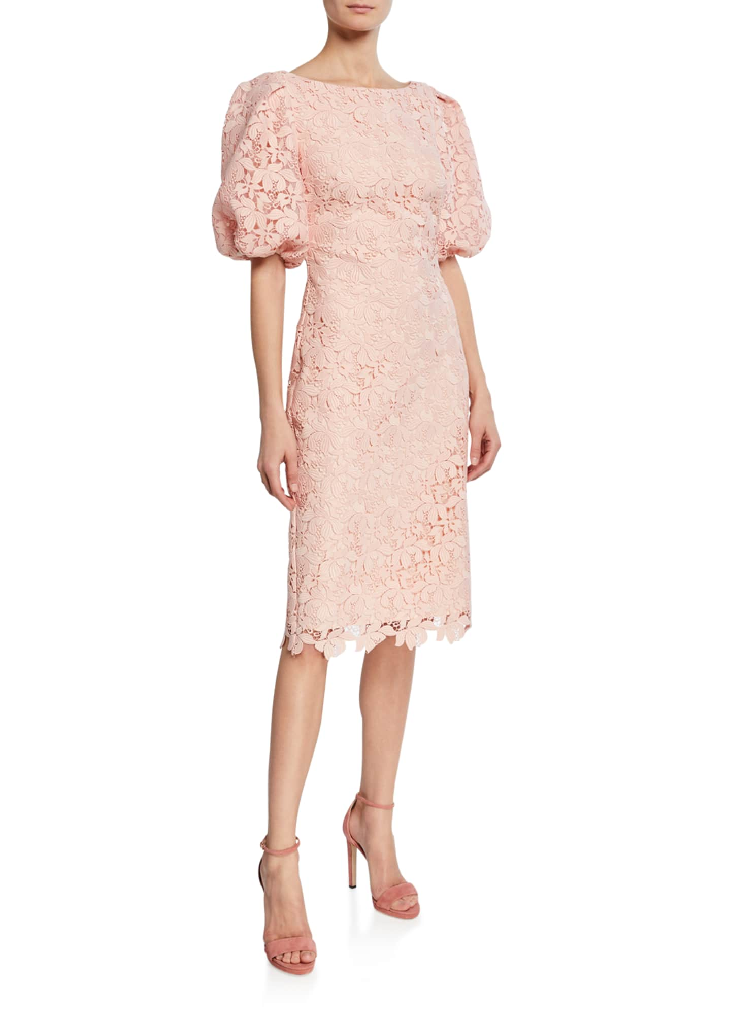 Badgley Mischka Collection Scallop-Lace High-Neck Balloon-Sleeve