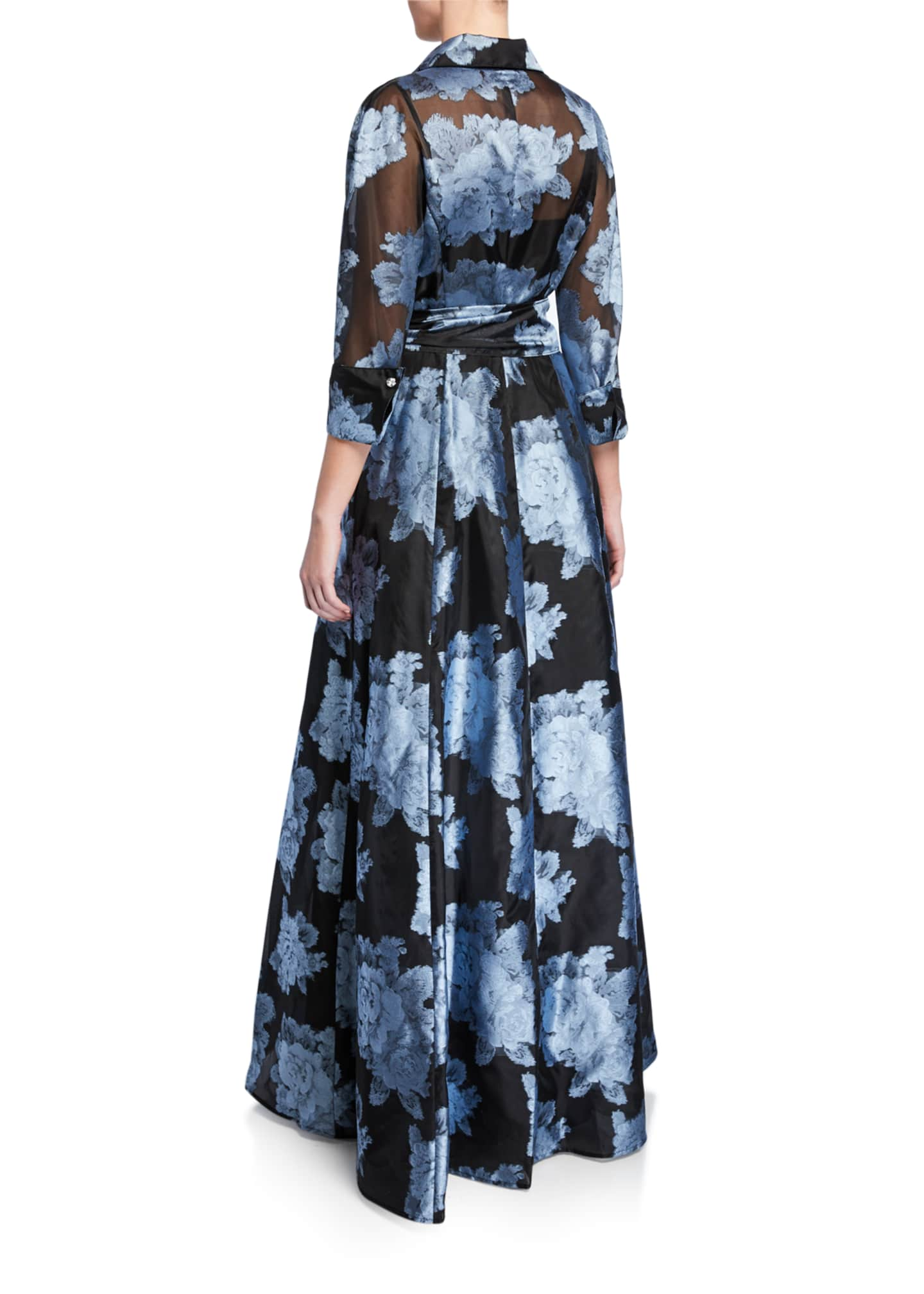 Image 2 of 2: Abstract Floral Gazaar Shirtwaist Gown