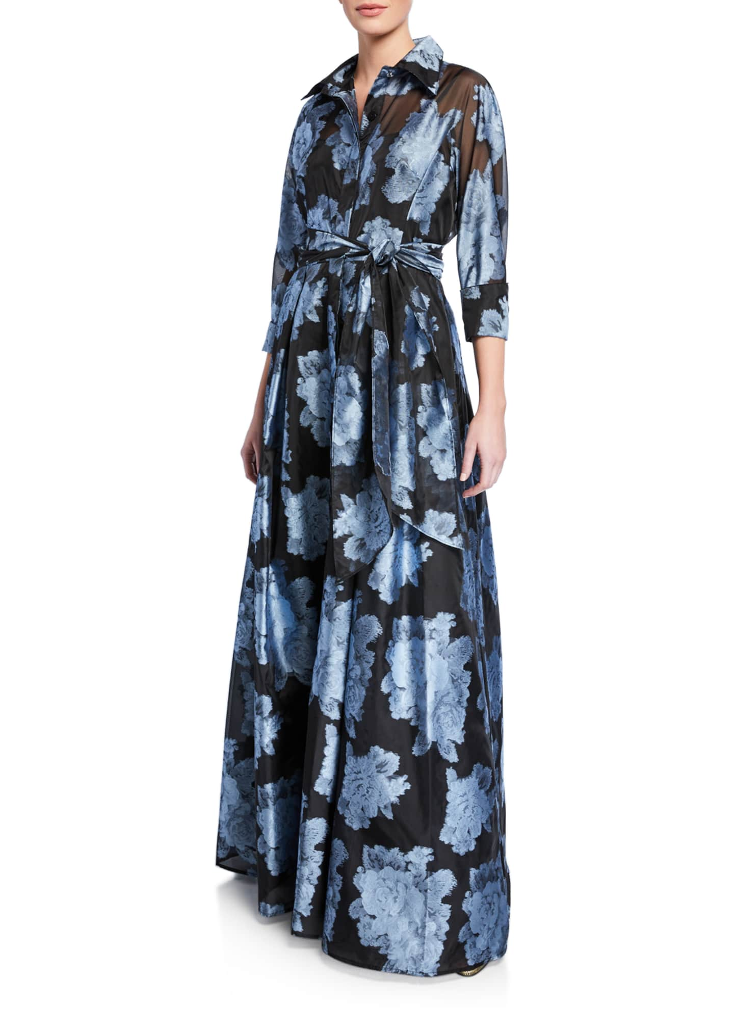 Image 1 of 2: Abstract Floral Gazaar Shirtwaist Gown