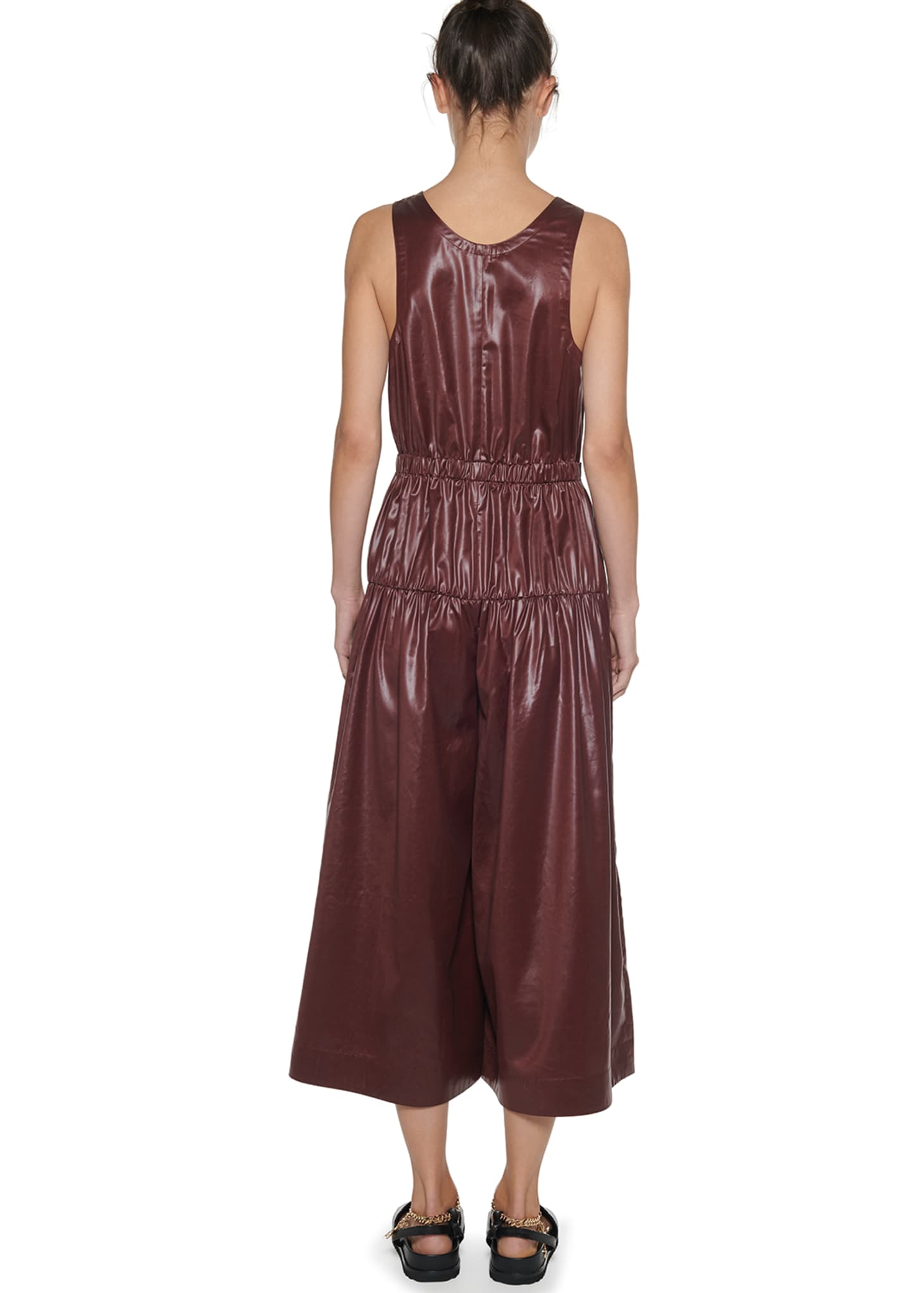 Image 3 of 3: Sleeveless Shirred Culotte Jumpsuit