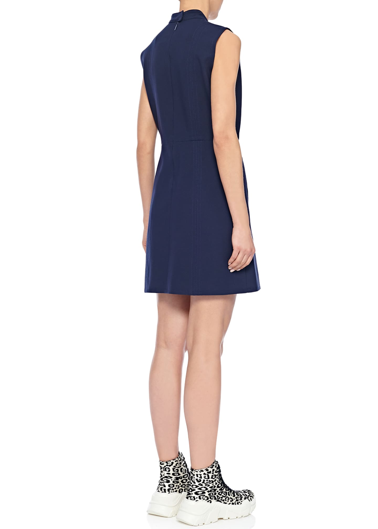 Image 2 of 2: Mock-Neck Sleeveless A-Line Mini Dress with Pockets
