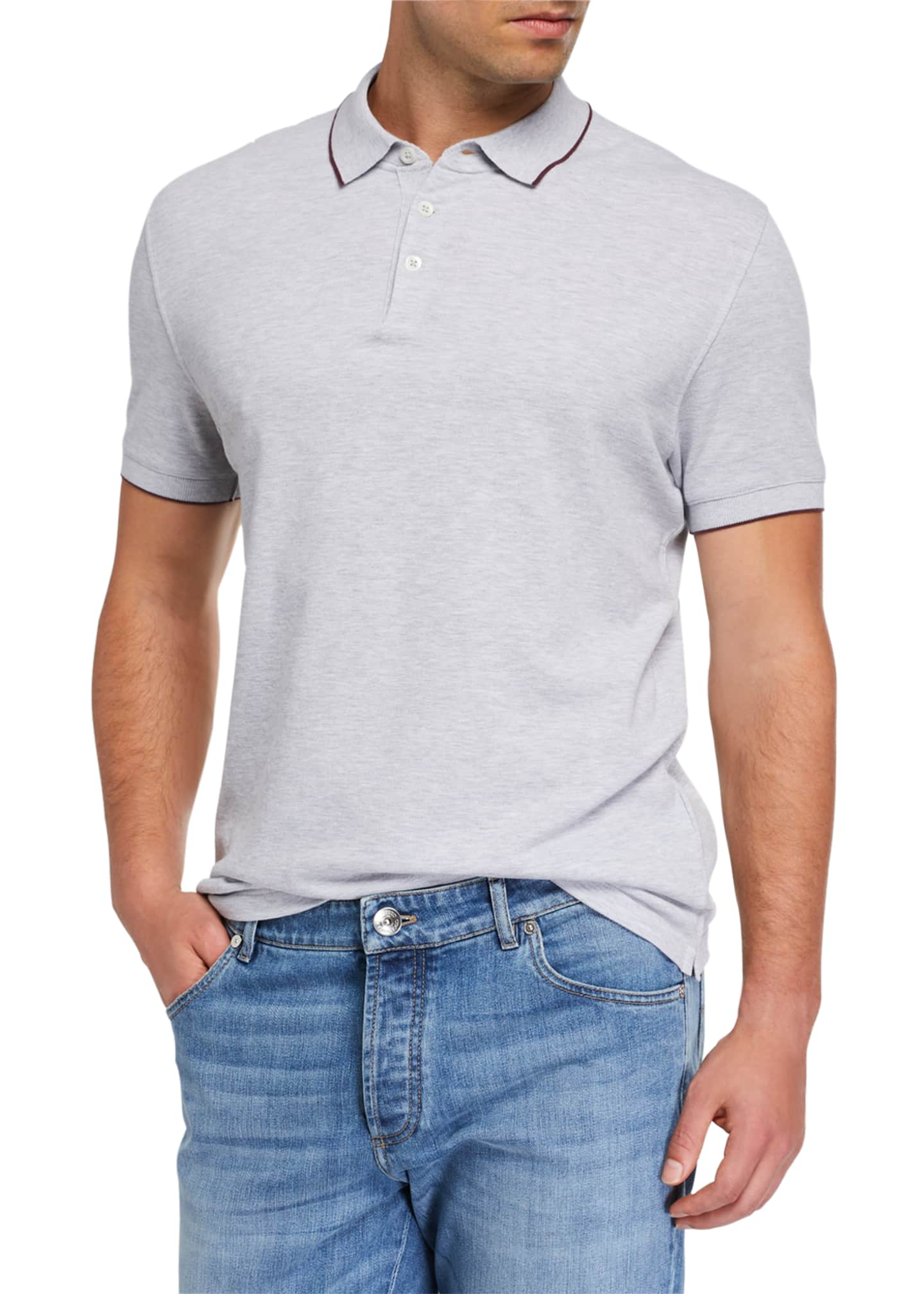 Image 1 of 2: Men's Contrast-Tipped Polo Shirt